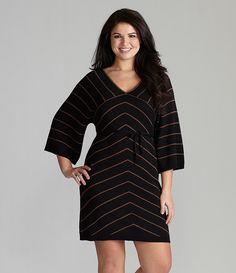 Black and Khaki Chevron Dress