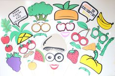 28pc * Fruits and Veggies Photobooth Props |Heath Nut Props | Healthy Lifestyle | Photobooth Props by ThePartyGirlStudio on Etsy