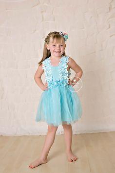 Blue Crochet Flower Dress for girls - toddler dress - easter girl dress - birthday dress