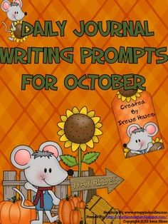 Daily Journal Writing Prompts For Month Of October ~Perfect For Writing Workshop! {Based On Common Core Standards} ~ 7 Journal Covers With & without color background paper Reference Pages: ~October Word Bank to aide students with spelling ~Writer's checklist for students to remind them what to focus on while writing ~31 Writing Prompts about October, Halloween and Fall. ~These prompts do not have specific dates, & can be used year after year! ~31 Blank Writing Stationary That Match Prompts