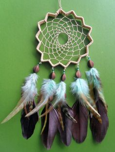 Dream Catcher Star Brown and Blue Unique by DreamOfPhilanthropy, $38.00