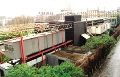 """Interaction Center, demolished 2003 - Cedric Price """"""""In he built a greatly reduced version of the Fun Palace in Kentish Town. Known as the InterAction Centre, this design incorporated. Ba Architecture, Container Architecture, Cedric Price, Urban Intervention, Building, Proving Grounds, Case Study, Design, Cities"""