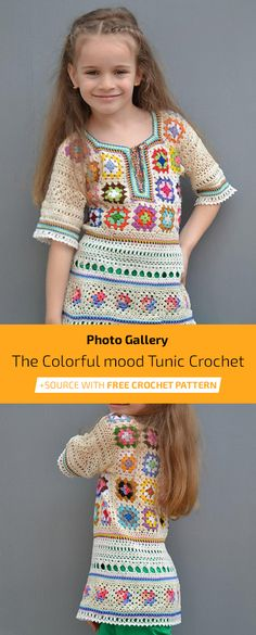 The Colorful mood Tunic Free Crochet Pattern Crochet Girls, Crochet Baby Clothes, Crochet For Kids, Free Crochet, Knit Crochet, Knitting For Kids, Baby Knitting, Knitting Patterns, Crochet Patterns