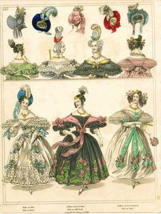 Moda en Francia 1830... I noticed the back cap is diff from the rest of the covering