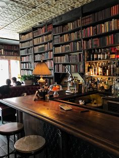 Architektur Oct 18 Casa Azul milk and roses bar greenpoint The post Oct 18 Casa Azul appeared first on Architektur. Bar Design, Coffee Shop Design, House Design, Rustic Coffee Shop, Cozy Coffee Shop, Coffee Shops, Library Cafe, Library Room, Cafe Bookstore