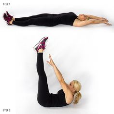 V-Ups--a core killer! Get up off your back as high as you can as you get stronger.