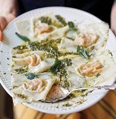 This autumnal dish of butternut squash ravioli with oregano-hazelnut pesto is easy to make using pre-made wonton wrappers.