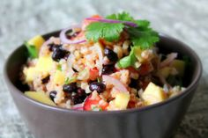 Vegetarian Salad with Wheat, Black Beans and Mango