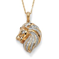 This gorgeous pendant from the Isabella Collection is shaped in a proud lion's head with glittering white diamond accents running down the mane. This necklace is crafted of rich gold plating over sterling silver and includes an 18-inch rope chain.