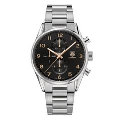 TAG Heuer Carrera 1887 Chronograph 43mm Black/Rose Dial Men's Bracelet Watch From Berry's Jewellers