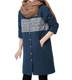 694fca290102 ZANLICE Women's Long Sleeve Button Down Stand Collar Quilted Coat X-Large  Blue. Clothes Women