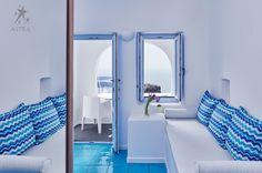 Astra Luxury Suites in Santorini suites for rent accommodation in Imerovigli Santorini overlooking the sea and volcano Santorini Suites, Imerovigli Santorini, Studios, Mirror, Luxury, Furniture, Home Decor, Decoration Home, Room Decor