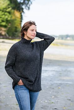 Better-Than-Basic Pullover Knitting pattern by Churchmouse Yarns & Teas Sweater Knitting Patterns, Knit Patterns, Knitting Sweaters, Pullover Sweaters, Cardigans, How To Purl Knit, Knit Purl, Collar Styles, Cool Sweaters