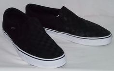 95e51d5cf44 Vans Men s Asher Slip On Skateboarding Shoes Sneakers Black Checkers Size  11  VANS  Skateboarding