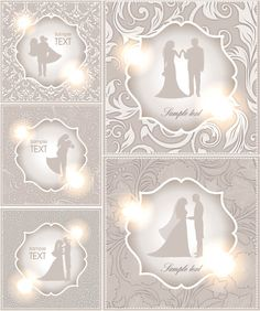 Wedding couple cards vector - free download