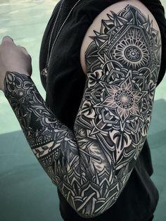 Mandala tattoo design - 50 of the Most Beautiful Mandala Tattoo Designs for Your Body & Soul – Mandala tattoo design Mandala Tattoo Design, Mandala Tattoo Mann, Geometric Tattoo Sleeve Designs, Mandala Arm Tattoos, Mandala Tattoo Sleeve, Geometric Tattoos Men, Full Sleeve Tattoos, Best Sleeve Tattoos, Forearm Tattoos