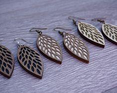 Australian gift drop earrings wooden earrings hoop | Etsy Wooden Earrings, Leaf Earrings, Unique Earrings, Boho Earrings, Unique Jewelry, Silver Earrings, Hessian Bags, Australian Gifts, Best Gifts