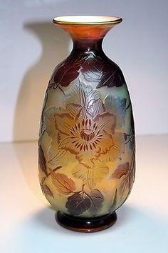 Antique Galle French Cameo Art Glass Vase Art Nouveau Deco | eBay