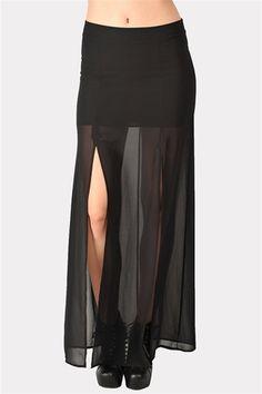 Split Maxi Skirt - Black