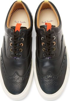 Paul Smith Jeans Black Leather Veil Brogue Sneakers