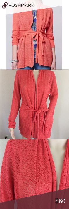 Anthro Knitted Knotted tie waist long cardigan Great condition has a loose string on one sleeve Anthropologie Sweaters