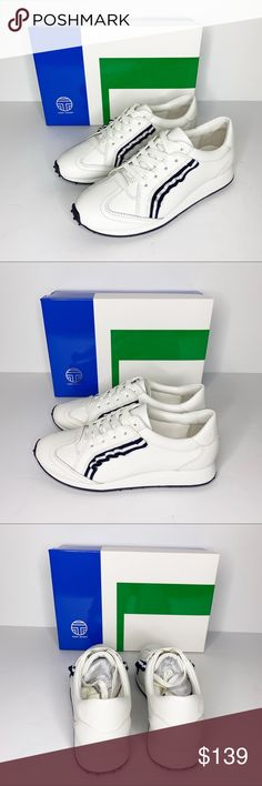 cfe7b942d54 TORY BURCH NIB White   Navy Golf Ruffle Trainer 7 These golf ruffle  trainers are by