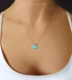 Small Gemstone Pendant Necklace - Aqua Chalcedony Necklace  Such a bright and pretty necklace!