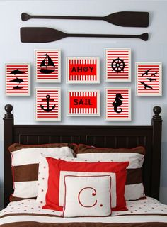 Nautical wall art 11x14 art prints for kids coastal decor bedroom, red and white, boat, anchor, lighthouse,sea horse, dolphins, ahoy sail