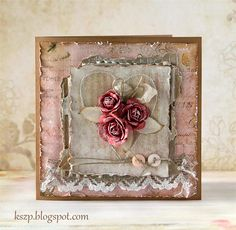 Klaudia/Kszp: lovely card-Distressed paper, paper with white patina, aged, just beautiful