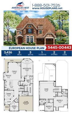 Full of excellent European details, Plan 5445-00443 outlines 3,436 sq. ft., 3 bedrooms, 3.5 bathrooms, a kitchen island, an open floor plan, a media room, a sitting room, and a study. #european #architecture #houseplans #housedesign #homedesign #homedesigns #architecturalplans #newconstruction #floorplans #dreamhome #dreamhouseplans #abhouseplans #besthouseplans #newhome #newhouse #homesweethome #buildingahome #buildahome #residentialplans #residentialhome European Plan, European House Plans, Best House Plans, Dream House Plans, Floor Plan Drawing, Cost To Build, Construction Cost, Build Your Dream Home, Old World Charm