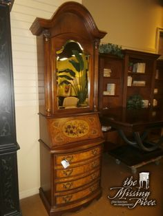 Petite, two piece drop front secretary with hutch. Measures 32*15*86. Painted Italian theme steps this piece up a notch.