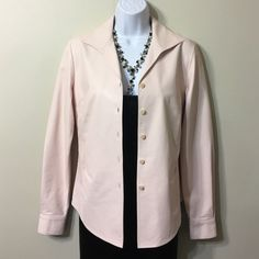 LAFAYETTE  148 NEW YORK  LAMBSKIN  SHIRTS SIZE 4 Soft. weightless ,very thin,no lining,jacket shirt made by high end designer,powder pink,wear as a shirts or jacket  .Newer was worn ,it's too small for my daughter Lafayette 148 New York Tops Button Down Shirts