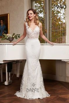 Illusion Lace Sleeveless Fit and Flare Mermaid Wedding Dress 2019 Collection - Create A Tattoo, Mermaid Wedding, Lace Mermaid, Fit And Flare Wedding Dress, Flowy Skirt, Princess Style, Floral Lace, Wedding Dresses, Wedding Bride