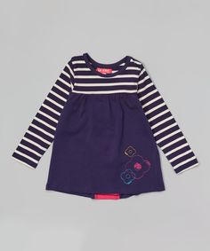 Navy Stripe Embroidered Tunic - Infant, Toddler & Girls by CR Cute #zulily #zulilyfinds