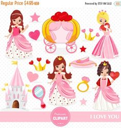 70% OFF SALE Valentines princess clipart by PremiumClipart on Etsy