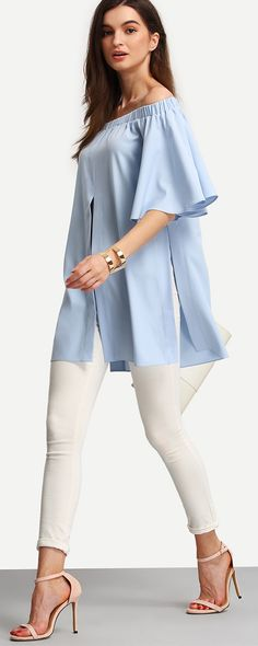 Shop Light Blue Off The Shoulder Split Blouse online. SheIn offers Light Blue Off The Shoulder Split Blouse & more to fit your fashionable needs. Casual Wear, Casual Outfits, Cute Outfits, Casual Shirts, Look Fashion, Womens Fashion, Fashion Design, Looks Style, My Style