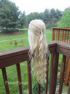 Yunkai / Mhysa Game of Thrones Wig - Daenerys Targaryen custom styled platinum pale blonde lace front wig - Curly Braids Season 3 / 4