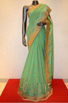 Ravishing Green Embroidered Chiffon Saree Product Code: AA210258