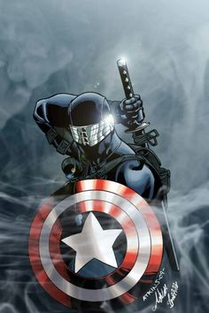 Snake Eyes with Captain America shield: deviantART - Visit to grab an amazing super hero shirt now on sale! Comic Book Characters, Marvel Characters, Comic Character, Comic Books Art, Arte Dc Comics, Bd Comics, Image Comics, Marvel Comics, Snake Eyes Gi Joe