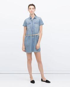 Image 1 of DENIM DRESS WITH BELT from Zara
