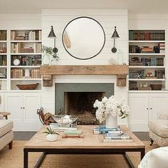 Shiplap on fireplace, rustic mantle, also love the coffee table. Article Gallery Ideas] The post Shiplap on fireplace, rustic mantle, also love the coffee table. Fireplace Built Ins, Shiplap Fireplace, Home Fireplace, Fireplace Remodel, Fireplace Surrounds, Fireplace Design, Shiplap Siding, Small Fireplace, Shiplap Trim