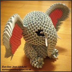 3D Modular Origami Elephant Side View by UNSJN.deviantart.com on @DeviantArt