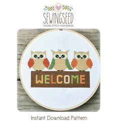 Owl Welcome Cross Stitch Pattern Instant Download por Sewingseed