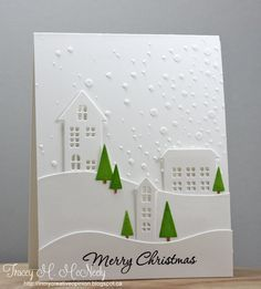 Tracey McNeely:  Simon Says Stamp Village dies and Snowflake stencil; embossing paste; Copic Markers