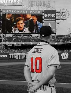 Retiring Chipper watches young Chipper on the scoreboard tribute in Washington DC