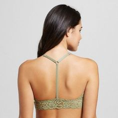 Women's Lace High Neck Bralette - Xhilaration - Tanglewood Olive Green S, Tanglewood Green