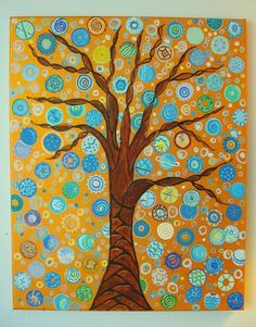 "Tree Painting Abstract Painting Gold and Blue Painting Acrylic Painting Art by Glorianna 20"" x 16"" - $165"