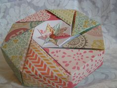 Country chic floral Octagonal Origami Gift Box on Etsy, $5.00