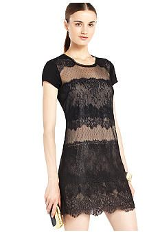 BCBGMAXAZRIA Lace Front Dress #belk #lace