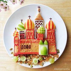De Basiliuskathedraal in Moskou kreeg ook een kinderlijke touch. Kunst op een bord!